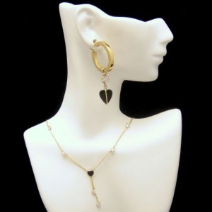 14K Gold Onyx Heart Crystals CZs Vintage Necklace Pierced Earrings Glamorous Set