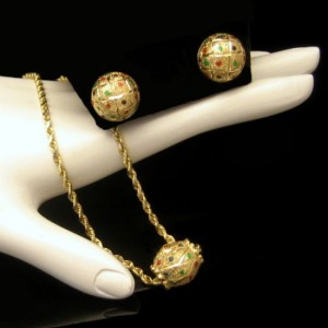 14K Gold Tiny Colored Stones Slide Pendant Necklace Earrings Vintage Set