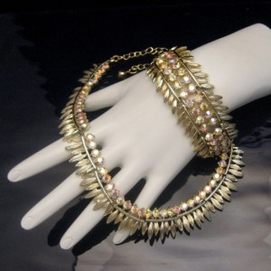 BSK Vintage Necklace Wide Bracelet Set Mid Century AB Rhinestones Gorgeous High Quality EUC