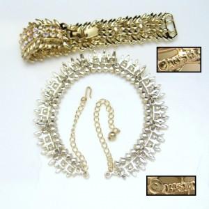 BSK Vintage Necklace Wide Bracelet Set Mid Century AB Rhinestones Gorgeous High Quality EUC