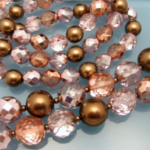 Vintage Glass Beads 2 Multi Strand Necklace 3 Strand Bracelet Set Pink Copper