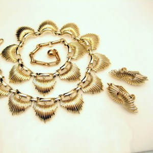 CORO Vintage Necklace Earrings Set Mid Century Modernist Spiked Half Moons Gold Plated