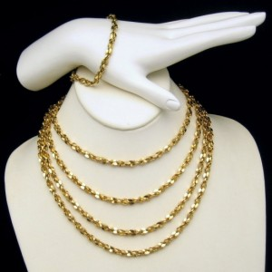 Mid Century Gold Plated Nuggets Necklace Bracelet Vintage Set 66 inch Long
