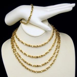Mid Century Gold Plated Nuggets Necklace Bracelet Vintage Set 66 inch Long