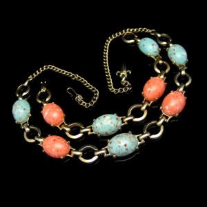 Vintage Necklace Bracelet Set Mid Century Blue Orange Beads Chunky Speckled Bold Colorful