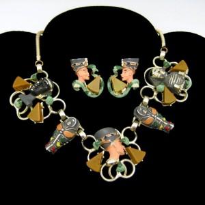 Rare Hobe Vintage Egyptian Enamel Bakelite Necklace Earrings Set Mummy Sphinx