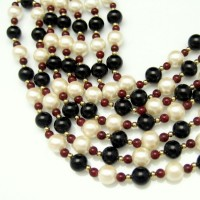 Mid Century Necklace Bracelet Vintage Red Black Faux Pearl Glass Beads 3 Multi Strands