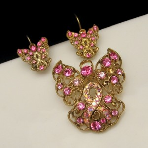 Vintage Filigree Angel Pink AB Rhinestones Brooch Pin Earrings Set Large