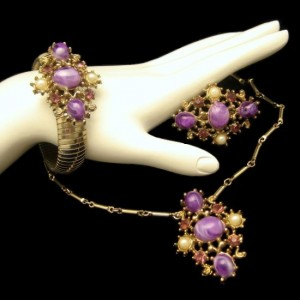 Vintage Necklace Bracelet Brooch Pin Mid Century Purple Swirl Stones Set Rhinestones