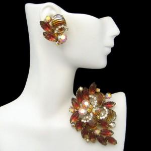 Vintage Brooch Pin Earrings High End Jewelry Set Fruit Salad Art Glass Rhinestones