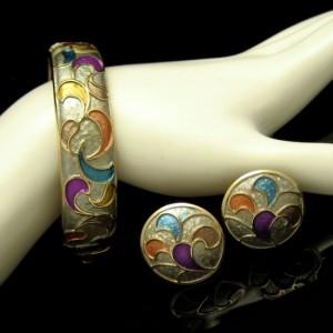 KRAMER Vintage Bangle Bracelet Earrings Mid Century Cloisonne Enamel Set
