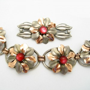 KREISLER Rare Vintage Bracelet Brooch Pin Mid Century Mixed Metals Retro Red Satin Glass