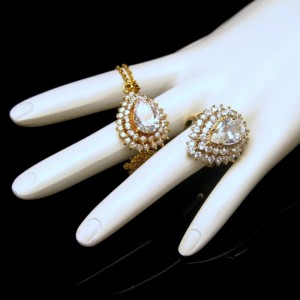 Lind 14KT HGE CZ Stones Vintage Necklace Cocktail Ring Heavy Gold Plated