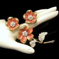 NOLAN MILLER Vintage Brooch Pin Earrings Coral Enamel Rhinestones Set Flowers Gorgeous