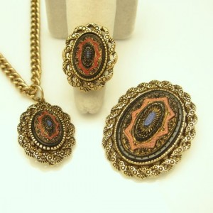 Mid Century Mosaic Designer Vintage Pendant Brooch Ring Set Large Convertible Lovely Colors