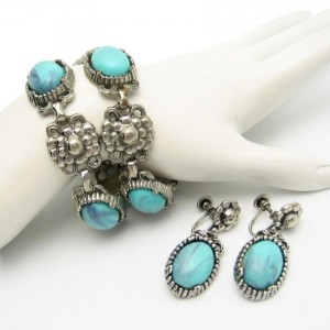 Vintage Faux Turquoise Bracelet Earrings Mid Century Nouveau Style Set Silvertone Large
