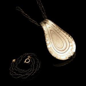 Vintage Pendant Necklace Bracelet Black Seed Beads Dichroic Glass
