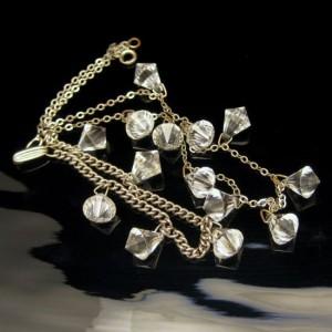 Vintage Art Deco Style Necklace Bracelet Set Mid Century Briolette Crystals Sparkling