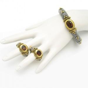Vintage Bangle Bracelet Earrings Mid Century Topaz Glass Rhinestones