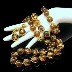 CROWN TRIFARI Vintage Necklace Bracelet Earrings Mid Century Amber Lucite Set Filigree Beads