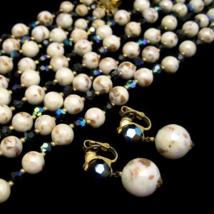 Crown Trifari Mid Century Rare 5 Strand Vintage Necklace Bracelet Earrings Blue AB Crystals