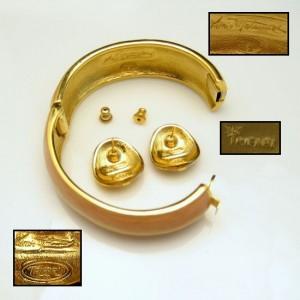 TRIFARI Kunio Matsumoto Vintage Bangle Bracelet Earrings Pink Enamel Set