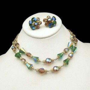 Vendome Green Topaz AB Crystal 2 Strand Vintage Necklace Earrings Set Glamorous