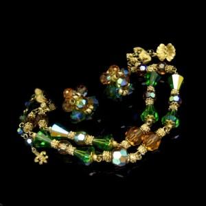 Vendome Green Topaz AB Crystal 2 Strand Vintage Necklace Earrings Set Glamorous