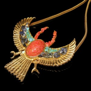 Accessocraft Egyptian Revival Large Winged Scarab Necklace