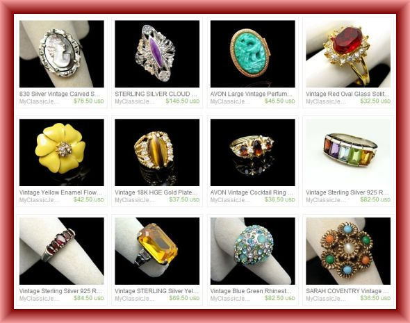 Vintage Cocktail Rings for Sale at the My Classic Jewelry Etsy shop