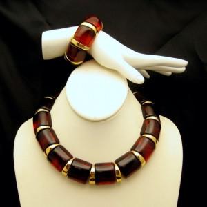 Vintage Napier Jewelry Bold Faux Tortoise Lucite Set