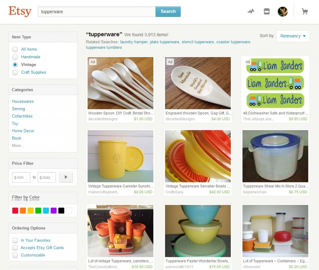 Vintage Tupperware for Sale on Etsy shown on www.myclassicjewelry.com/blog/vintage-style-memories/vintage-tupperware-party