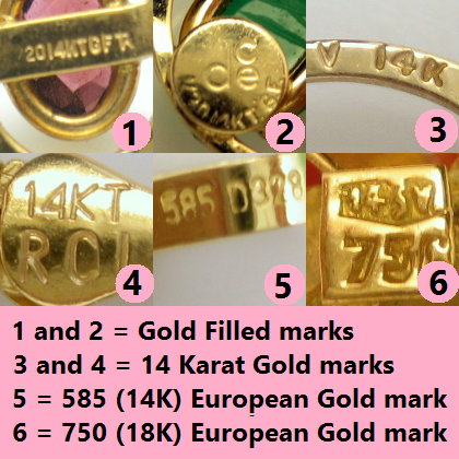 Vintage Jewelry Marks For Gold Purity