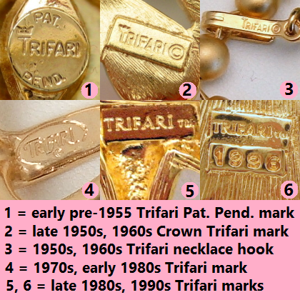 Trifari Vintage Jewelry Signatures  sc 1 st  Vintage Jewelry Designers Online Mall at My Classic Jewelry & Vintage Jewelry Marks: Help for Dating Your Vintage Jewelry - My ...