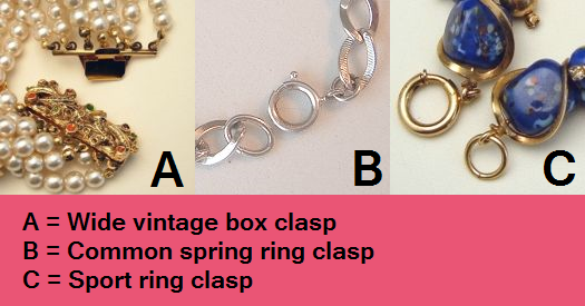 Box, Spring Ring, and Sport Ring Bracelet Clasps
