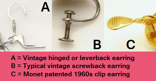 Vintage Jewelry Hardware: Earring Clasps