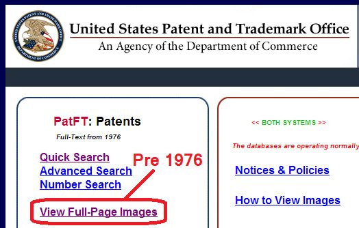 US Patent and Trademark Office Database Full Page Images