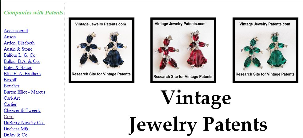 Vintage Jewelry Patents on the VintageJewelryPatents.com Site