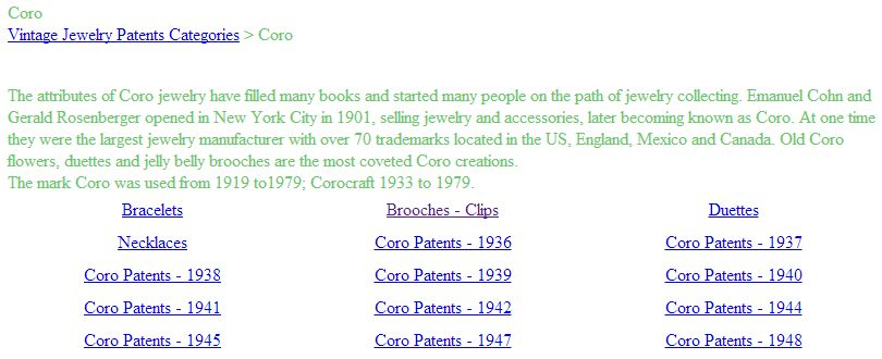 Coro Patents on the VintageJewelryPatents.com Site