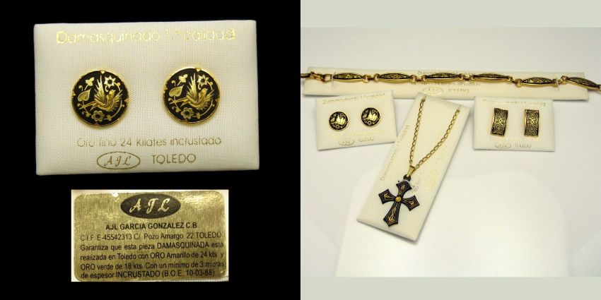 Damascene Jewelry From Spain On Original Cards