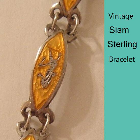 Vintage Yellow Enamel Siam Sterling Bracelet