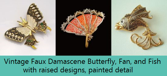 Vintage Faux Damascene Jewelry
