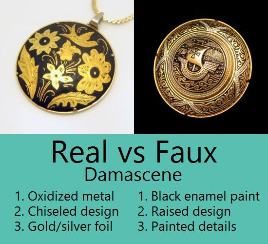 Real vs Faux Vintage Damascene Jewelry