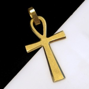 14K Gold Stardust Finish Ankh Cross Front