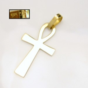 14K Stardust Ankh Cross Back
