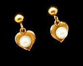 Cultra Vintage Gold Filled Hearts Cultured Pearls Earrings