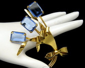 Sterling Yellow Gold Vermeil Blue Glass Stones Flower