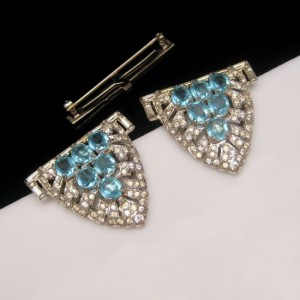 Trifari ClipMates Aqua Glass Stones