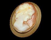 Vintage Gold Filled Carved Shell Cameo Brooch