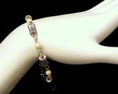 Vintage White Gold Filled Fluted Beads Pearls Bracelet